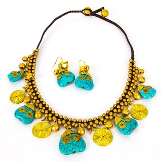 Thai-handicraft Turquoise and Brass 'Hearts and Flowers' Drop Necklace and Earring Set (Thailand)