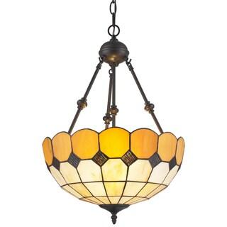 Amora Lighting Tiffany Style Amber Hanging Lamp