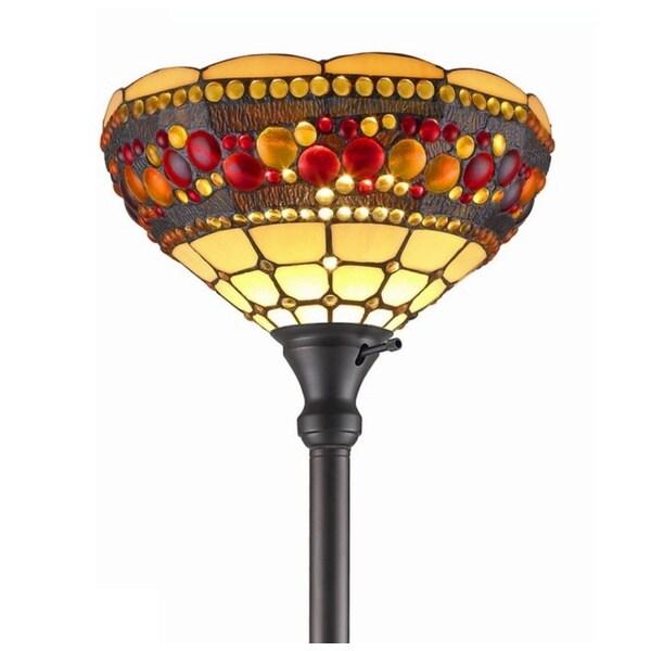 Amora Lighting Tiffany Style Torchiere Jeweled Lamp