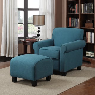 Handy Living Mira Caribbean Blue Linen Arm Chair and Ottoman