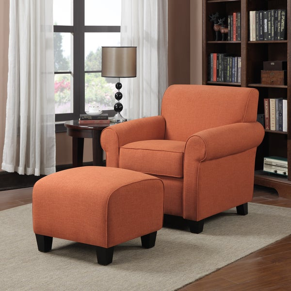 Handy Living Mira Orange Linen Arm Chair and Ottoman - Free ...