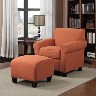 Handy Living Mira Orange Linen Arm Chair And Ottoman