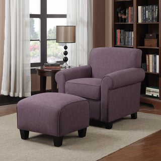 Handy Living Mira Amethyst Purple Linen Arm Chair and Ottoman