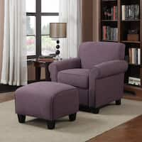 Clay Alder Home Pope Street Amethyst Purple Linen Arm Chair and Ottoman