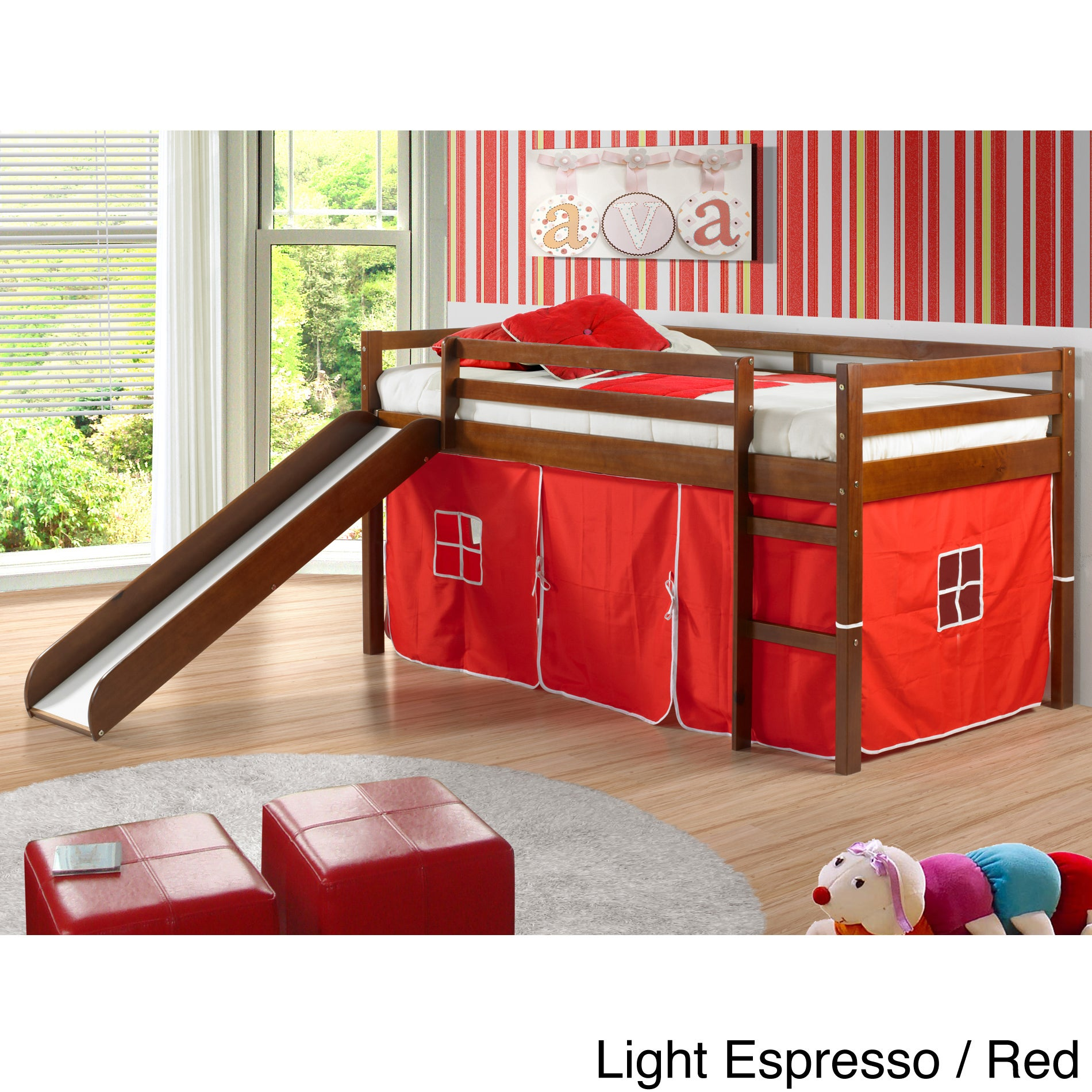 Donco Kids Twin-size Tent Loft Bed with Slide (Light Espr...