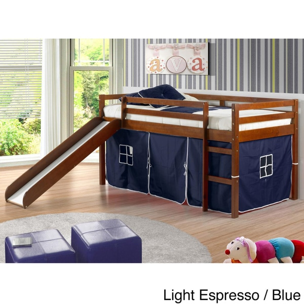 donco kids twin size tent loft bed with slide free shipping today 15450130. Black Bedroom Furniture Sets. Home Design Ideas