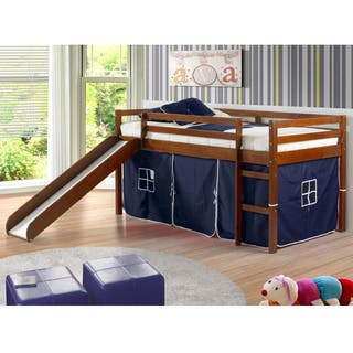 Donco Kids Wood Twin Size Tent Loft Bed With Slide