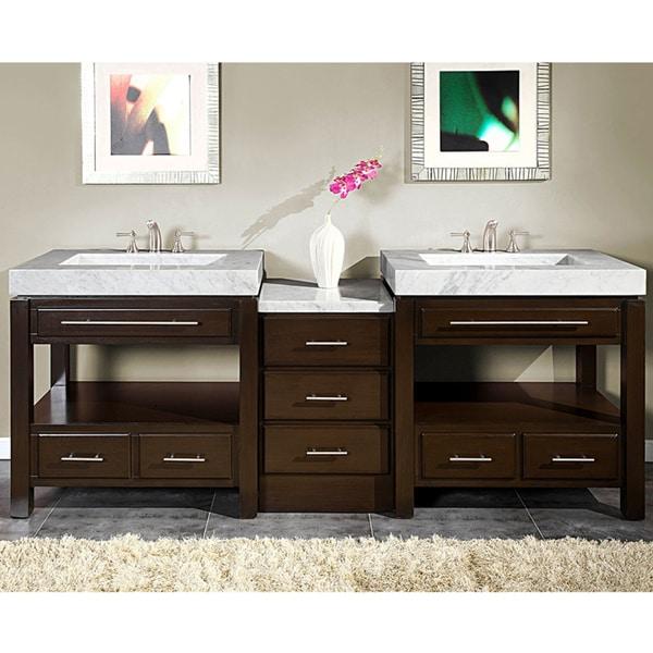 Silkroad Exclusive 92-inch Carrara White Marble Stone Countertop Bathroom Vanity