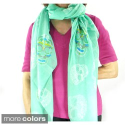 Summer Time Floral Skulls Scarf/ Beach Wrap
