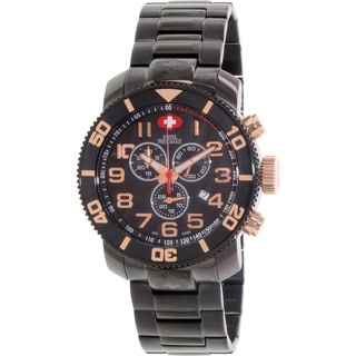Swiss Precimax Men's Verto Pro Black Stainless-Steel Band Swiss Chronograph Watch with Rose-Gold Hands