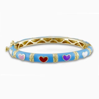 Miadora Goldplated Silver Baby Multi-Colored Heart Bangle