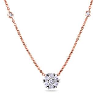 Miadora 14k Rose Gold 1/3ct TDW Diamond Station Necklace