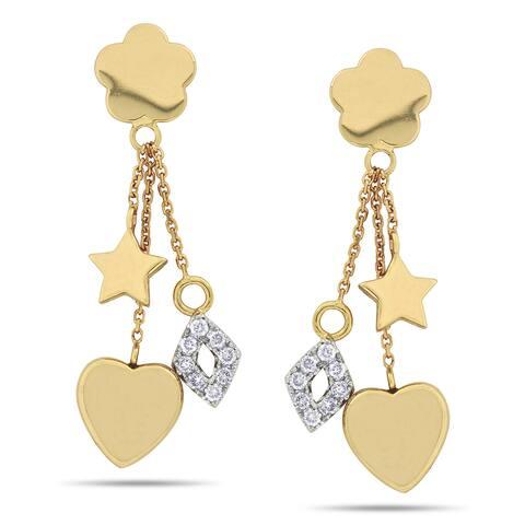 Miadora 14k Yellow Gold 1/4ct TDW Diamond Star Earrings