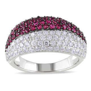 Miadora Sterling Silver Red and White Cubic Zirconia Ring