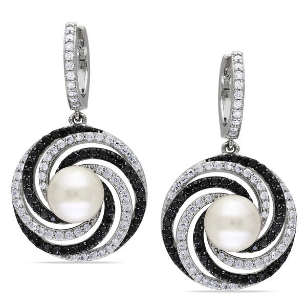 Miadora Sterling Silver Faux Pearl and Cubic Zirconia Earrings