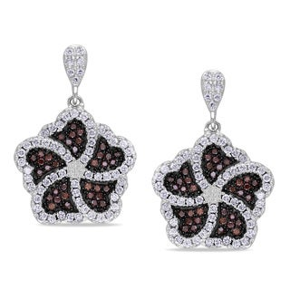 Miadora Sterling Silver Brown and White Cubic Zirconia Flower Earrings