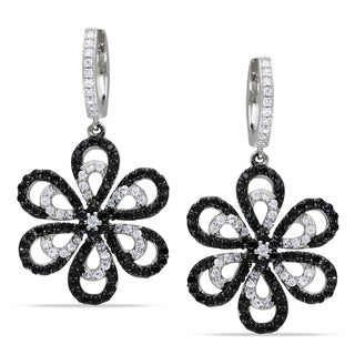 Miadora Sterling Silver Black and White Cubic Zirconia Flower Earrings