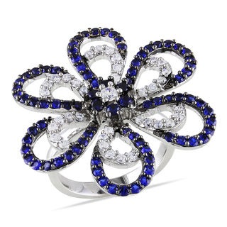 Miadora Sterling Silver Blue and White Cubic Zirconia Flower Ring