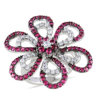 Miadora Sterling Silver Red and White Cubic Zirconia Flower Ring