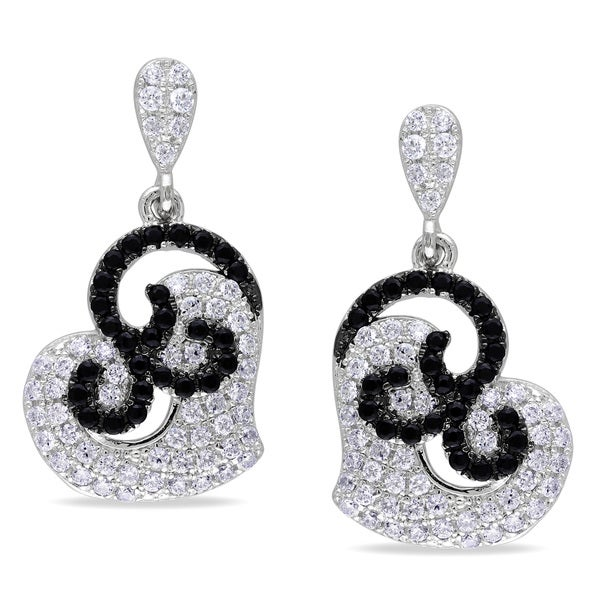 Miadora Sterling Silver Black and White Cubic Zirconia Heart Earrings