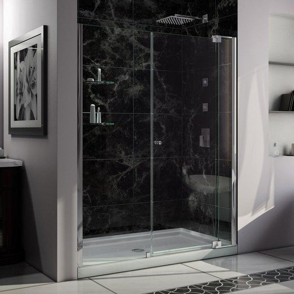 DreamLine Allure Frameless Pivot Shower Door and SlimLine 34 in. by 60 in. Single Threshold Shower Base