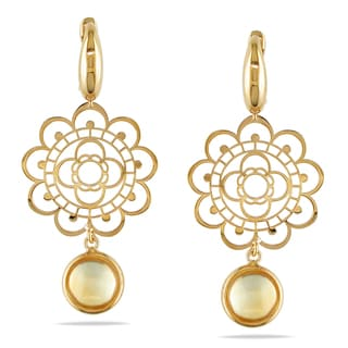Miadora Signature Collection 14k Yellow Gold Citrine Flower Earrings