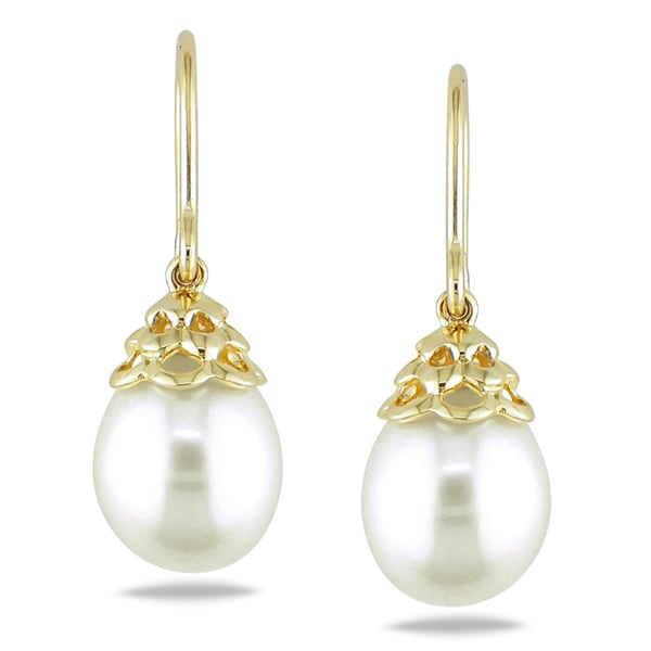 Miadora 14k Yellow Gold White Cultured Freshwater Pearl Drop Earrings 9 10 Mm
