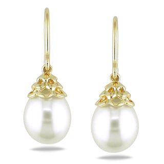 Miadora 14k Yellow Gold White Cultured Freshwater Pearl Drop Earrings (9-10 mm)