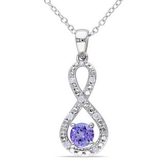 Miadora Sterling Silver Tanzanite 1/10ct TDW Diamond Infinity Necklace