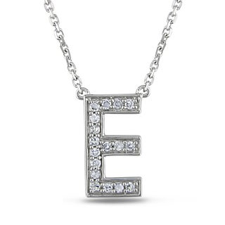 Miadora 14k White Gold 1/10ct Diamond Initials Necklace (G-H, SI1-SI2)