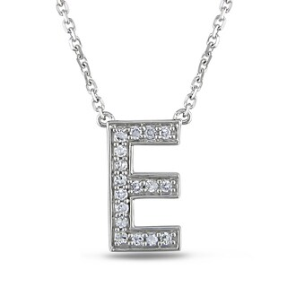 Miadora 14k White Gold 1/10ct Diamond Initials Necklace
