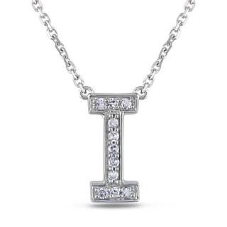 Miadora 14k White Gold Diamond Initials Necklace