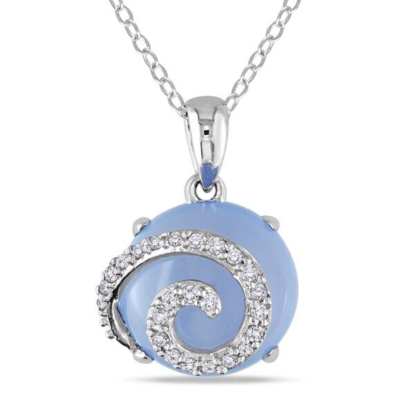Miadora Sterling Silver Blue Chalcedony 1/6ct Diamond Necklace (I2-I3)