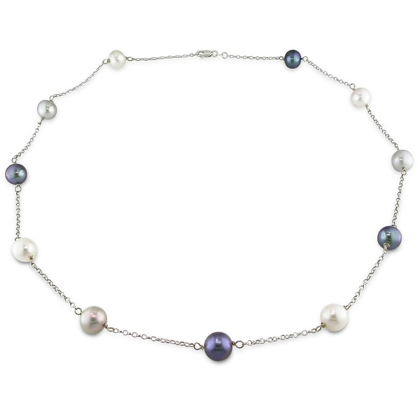 Miadora 14k White Gold Tin-Cup Cultured Freshwater Pearl Necklace (11-12 mm) wit