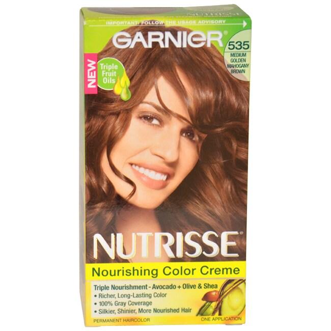 Nutrisse Nourishing Color Creme # 535 Medium Golden Mahogany Brown by Garnier for Unisex - 1 Application Hair Color