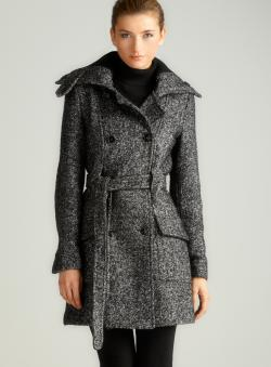 Calvin Klein Double Belted Tweed Coat - Free Shipping Today