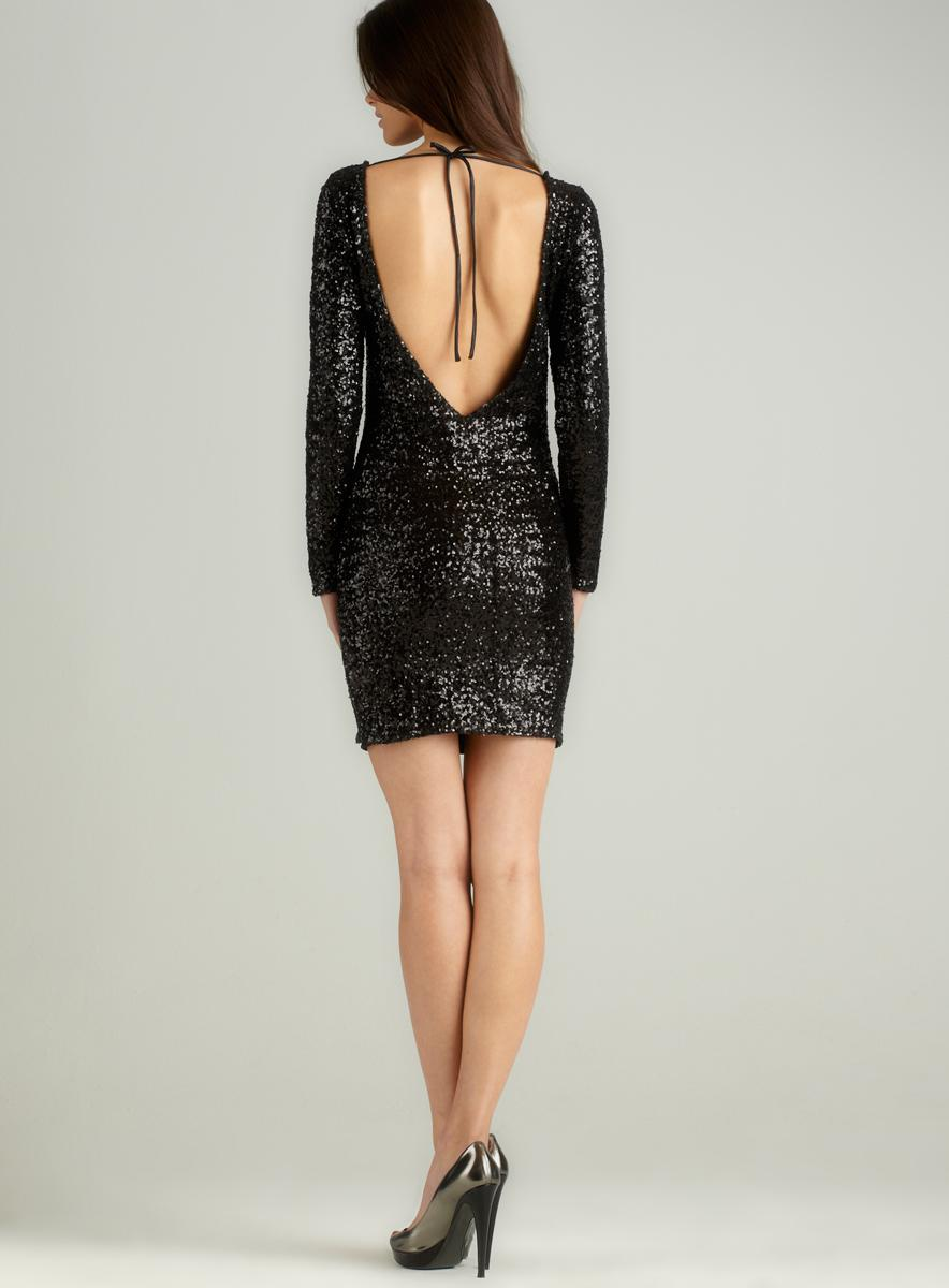 La Cite L/S Open Back Sequin Dress