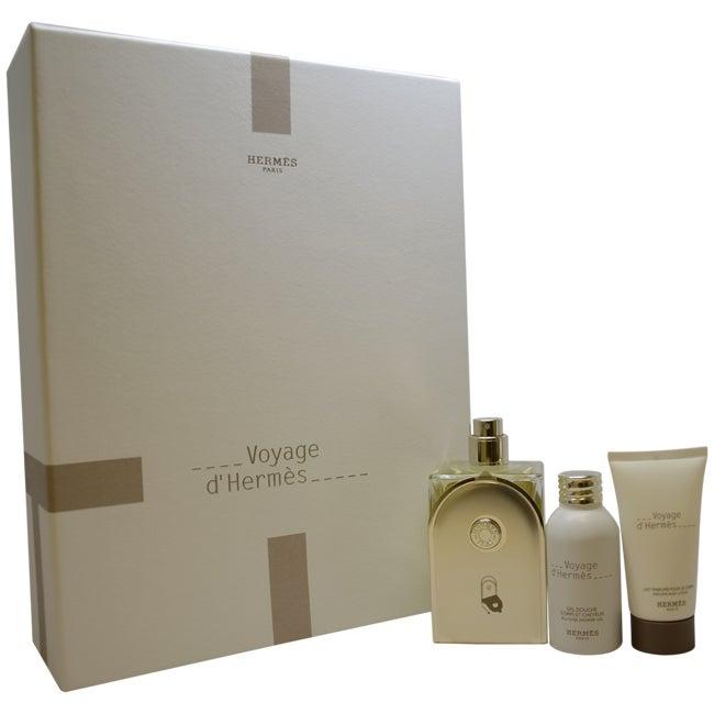 Voyage D'Hermes by Hermes for Unisex - 3 Pc Gift Set 3.3oz EDT Spray (Refillable), 1oz Perfumed Body Lotion, 1oz Shower Gel