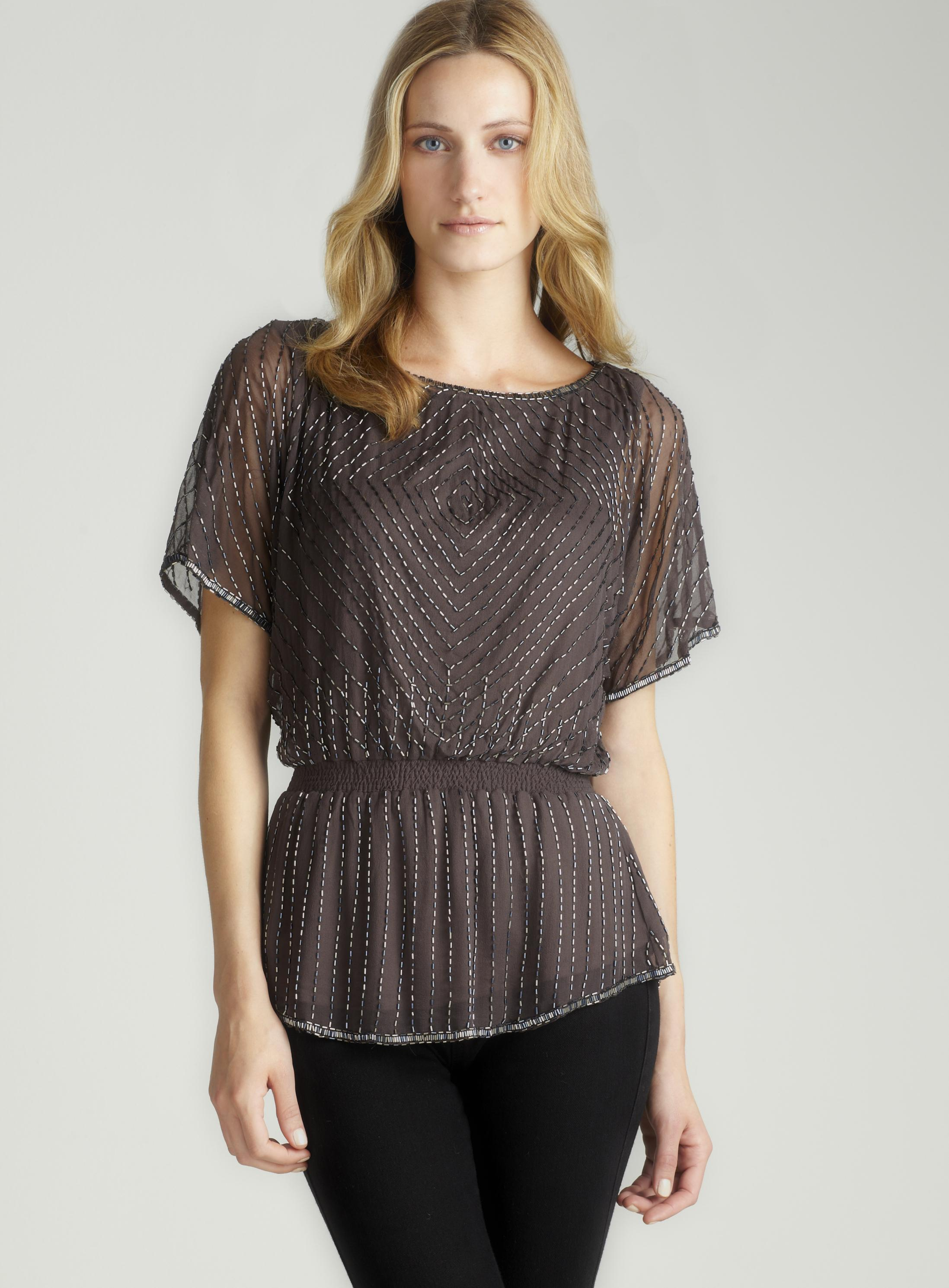 Adrianna Papell Beaded Blouson With Peplum Top