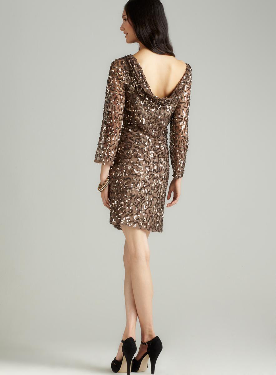 Pisarro Nights Long Sleeve Sequin Short Dress