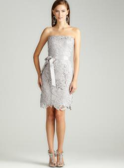 Adrianna Papell Strapless Lace Sheath W/Ribbon - Free Shipping ...