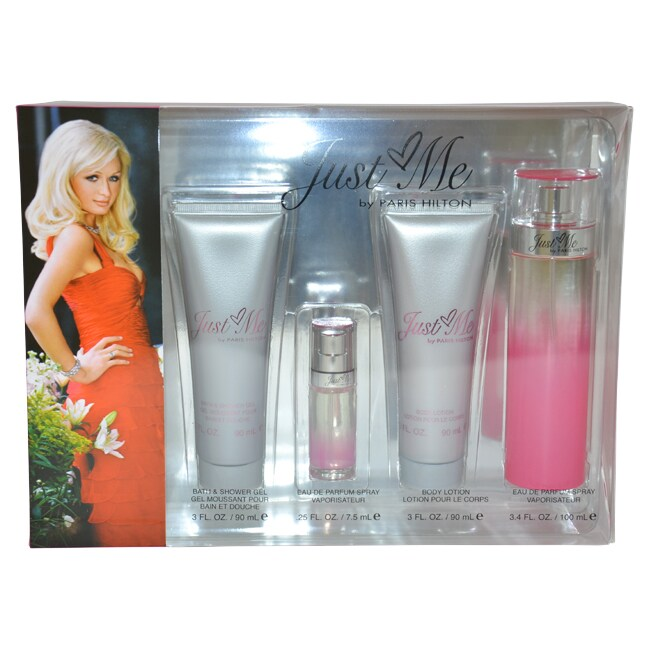 Just Me by Paris Hilton for Women - 4 Pc Gift Set 3.4oz EDP Spray, 3oz Bath and Shower Gel, 3oz Body Lotion, 0.25oz EDP Spray