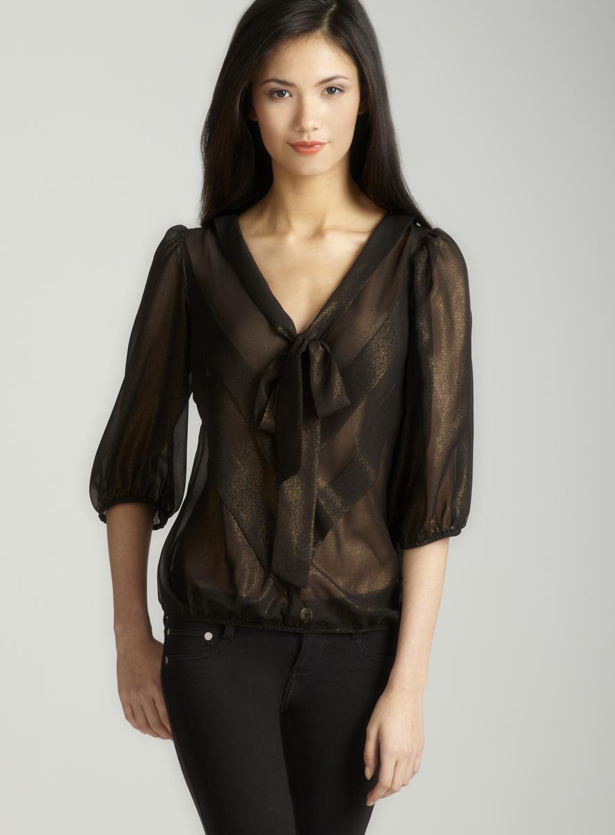Max Studio Georgette tie front blouse