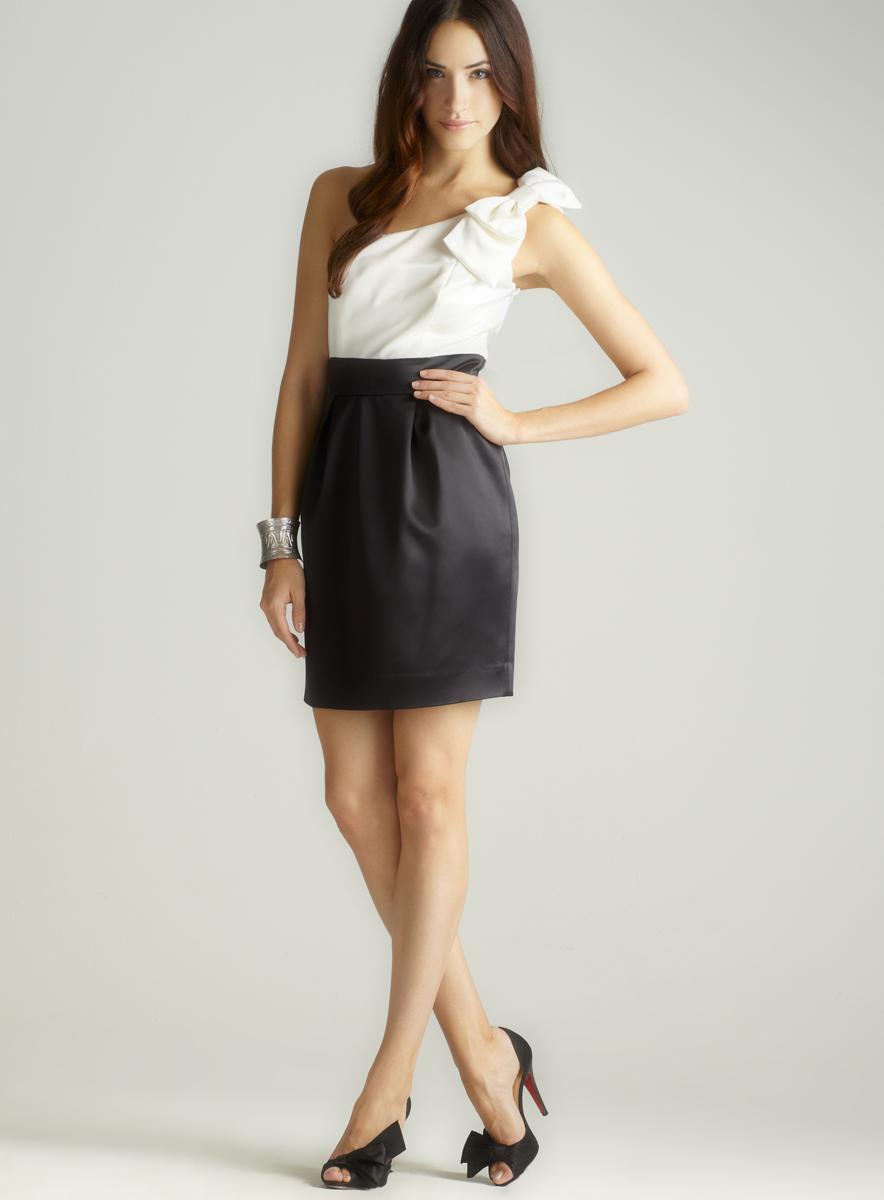 Laundry 2-Tone Bow One Shoulder Dress