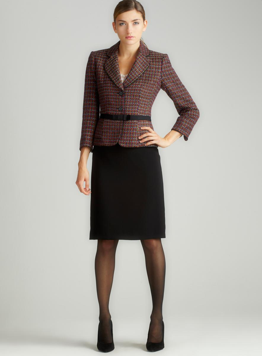 Tahari Novelty Crepe Skirt Suit