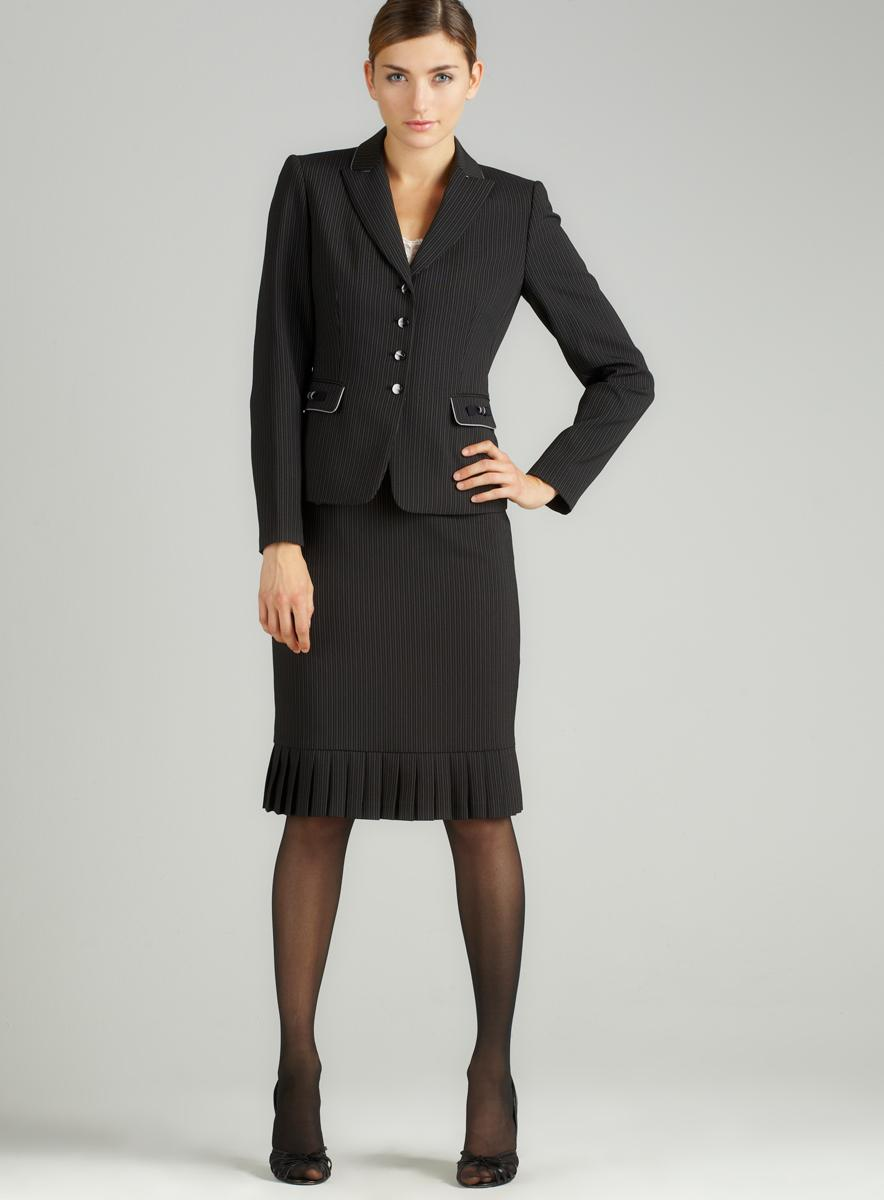 Tahari Pinstripe Accordion Skirt Suit