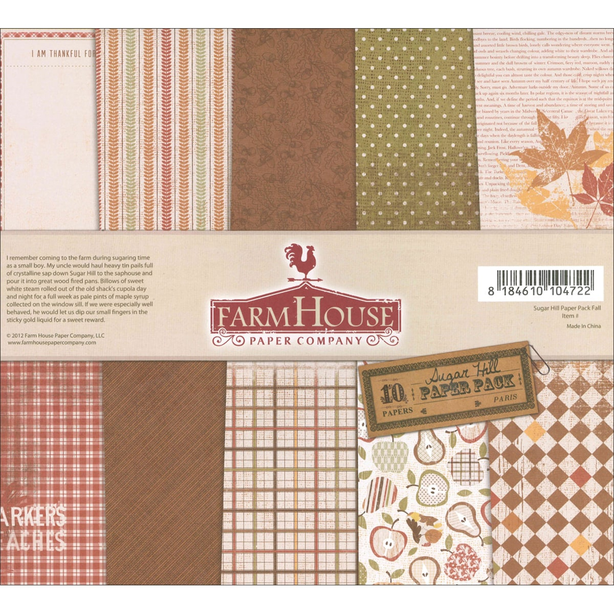 Sugar Hill Double-Sided Paper Pack 12X12in 10/Sheets-Fall