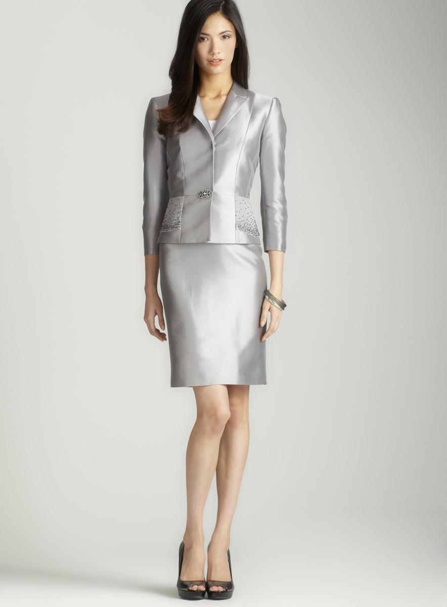 Tahari Silver silk & wool skirt suit