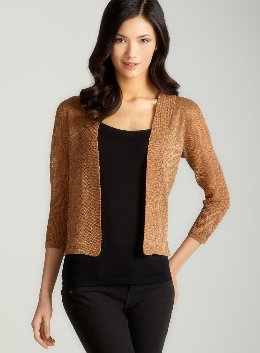 August Silk Lurex Mesh Open Front Cardigan