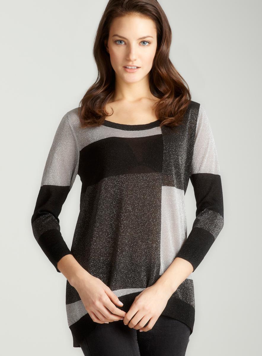 August Silk Del2-Colorblocked Pullover